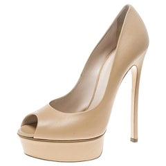 6740476b05 Casadei Beige Leather Peep Toe Platform Pumps Size 39