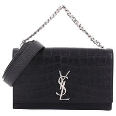 Saint Laurent Classic Monogram Shoulder Bag Crocodile Embossed Leather