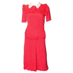 Vintage 1940s Red Polka Dot Dress with Frill Trim