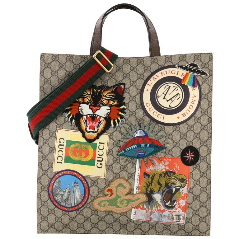 827e2688d6a7 Gucci Courrier Convertible Soft Open Tote GG Coated Canvas with Applique N  & S For Sale