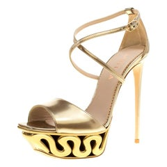Le Silla Metallic Gold Leather Venus Cross Strap Platform Sandals Size 40