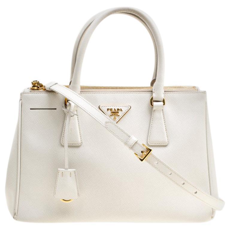 6b5d9e6fda8f5b Prada White Saffiano Lux Leather Medium Double Zip Tote For Sale at 1stdibs