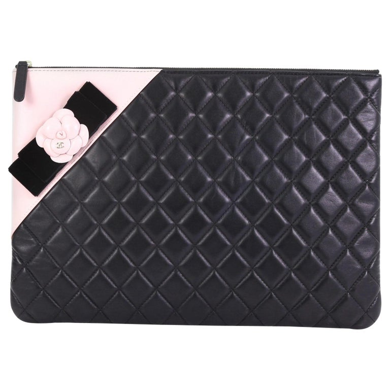 279dd8e4f01ddf Chanel Camellia O Case Clutch Quilted Lambskin Large For Sale at 1stdibs