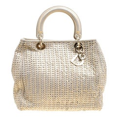 Dior Metallic Gold Woven Leather Medium Soft Lady Dior Tote