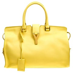 Saint Laurent Yellow Leather Medium Cabas Chyc Tote