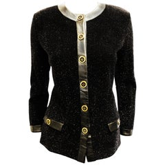 24d90467a Classic St. John Black Knit Evening Jacket W  Crystal Trim and ...