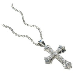 Christopher Phelan Pave Diamond Nordic Cross 18K White Gold Necklace
