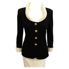 St. John Black Wool Jacket W/  Ivory Silk Collar & Cuffs