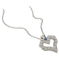 Pave Diamond Open Heart Pendant Necklace 18K White Gold