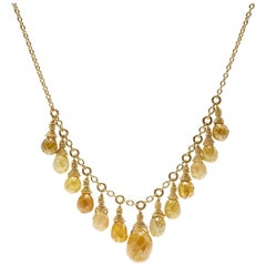 Briolette Yellow Diamond Bead 18K Gold Necklace