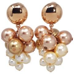 Oscar de la Renta Metallic Faux Pearl Vine Cluster Clip On Earrings