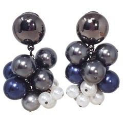 Oscar de la Renta Metallic Faux Metallic Pearl Vine Cluster Clip On Earrings