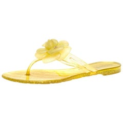 Chanel Glitter Jelly CC Camellia Flat Sandals Size 37