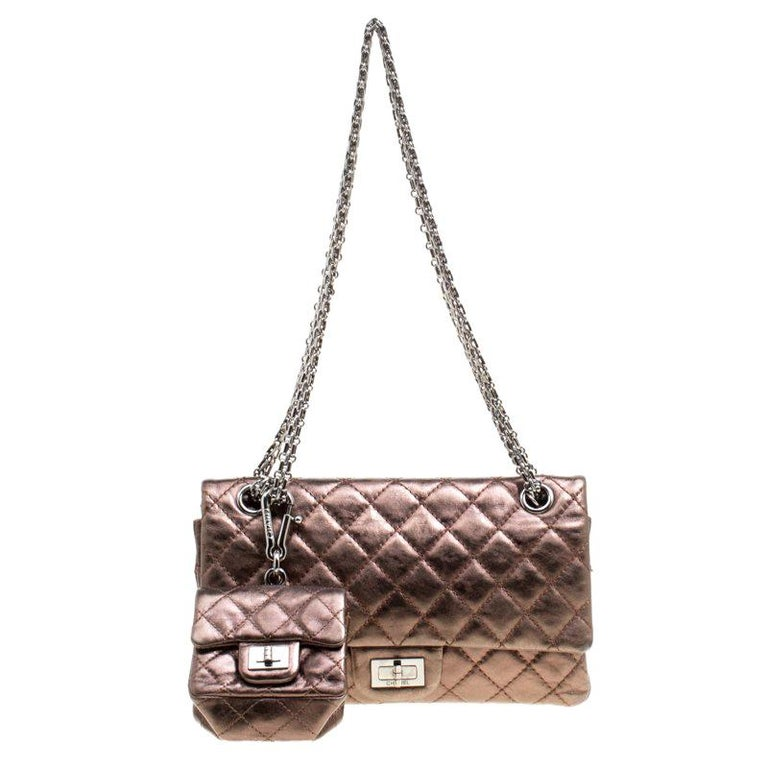 d9919a1ee3de Chanel Bronze Quilted Leather Reissue 2.5 Classic 225 Flap Bag Purse  Accessories For Sale