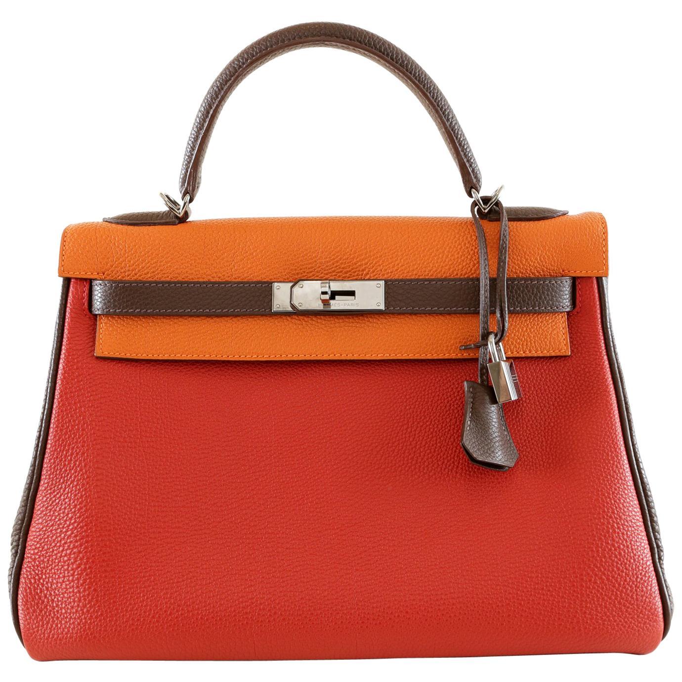 Hermès Tri Color Togo Leather 32 cm Kelly Bag - Limited Edition