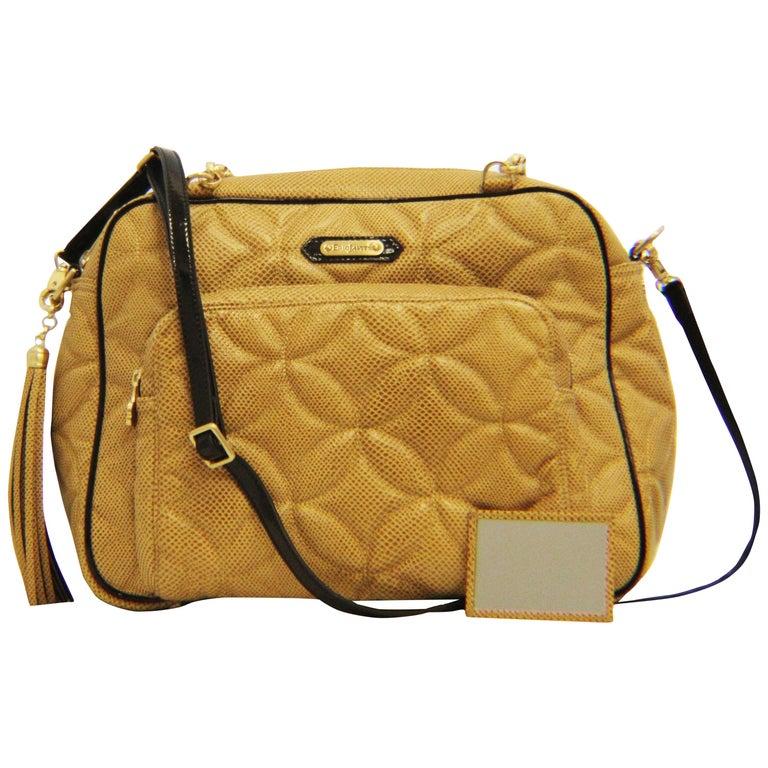 f3e335caf58c Eric Javits Embossed Tan Lizard Print Shoulder Bag For Sale at 1stdibs