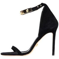 Versace Black Suede Sandals W/ Goldtone Metal Medusa Ankle Strap Sz 39