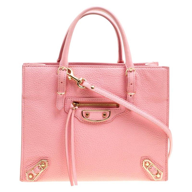 a00d76f7d96 Balenciaga Pink Leather Mini Metallic Papier A4 Top Handle Bag For Sale at  1stdibs