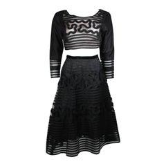 LEON PAULE NOLAN MILLER Black Applique Ensemble Crop Top Flare Skirt Size Medium