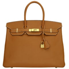 Hermès Birkin 35cm Bag Toffee Epsom Leather with Gold Hardware Stamp A 2017