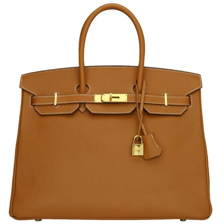 Hermès Birkin 35cm Bag Toffee Epsom Leather with Gold Hardware Stamp A 2017 For Sale