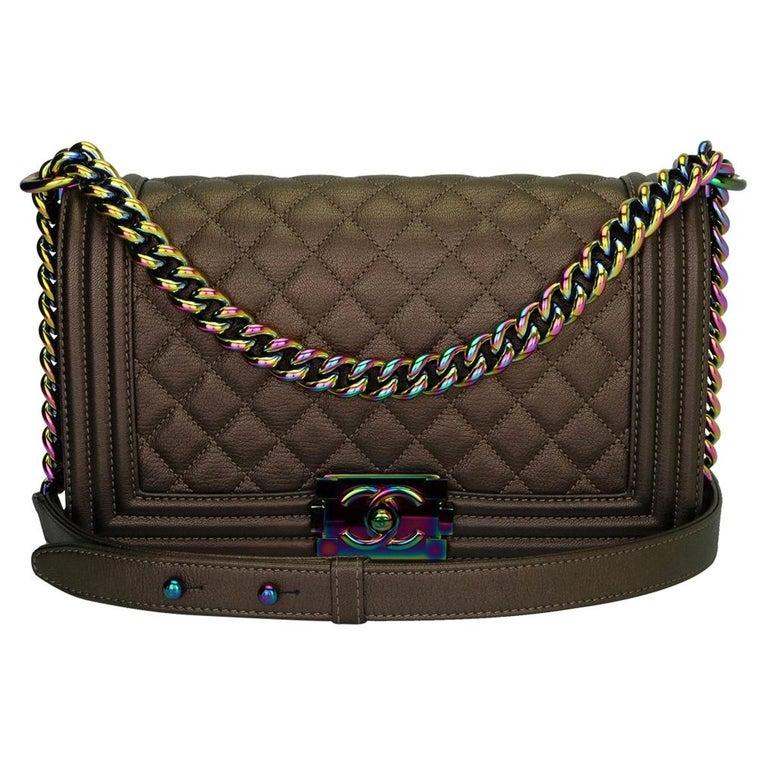 CHANEL Old Medium Boy Bag Bronze Iridescent Goatskin with Rainbow Hardware 2016 For Sale