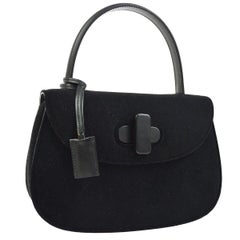 Gucci Black Felt Leather Top Handle Satchel Kelly Style 2 in 1 Shoulder Flap Bag