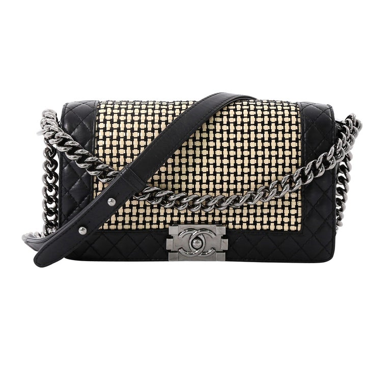 fd81f4e310c5 Chanel Reverso Boy Flap Bag Woven Calfskin Old Medium For Sale at ...
