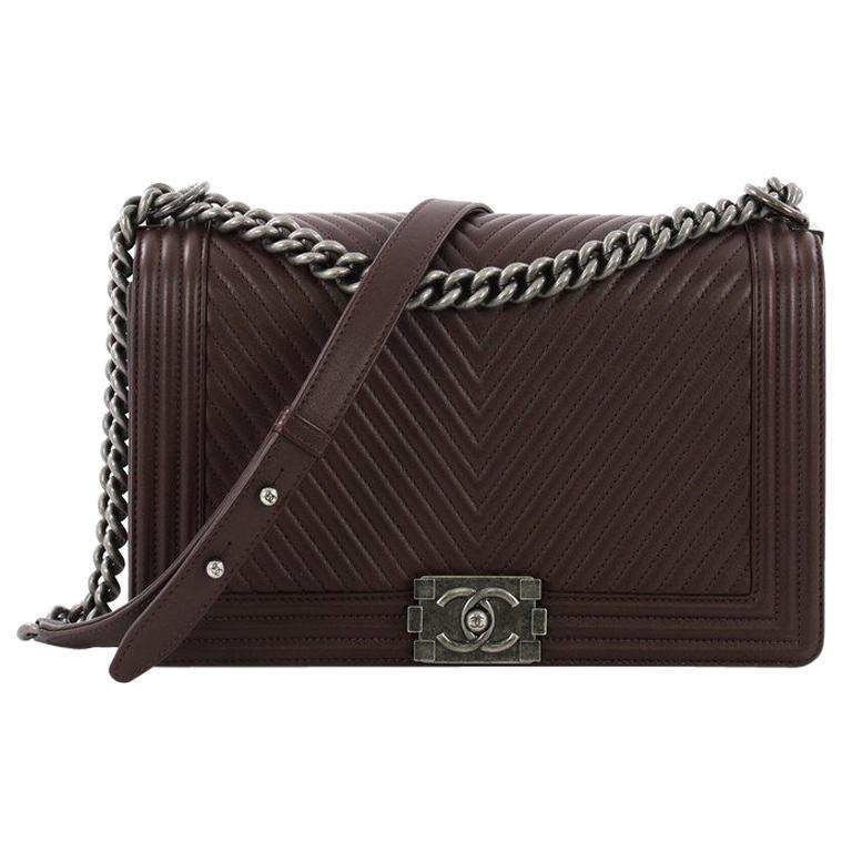 3acd44e2d9d1 Chanel Boy Flap Bag Chevron Calfskin New Medium For Sale at 1stdibs
