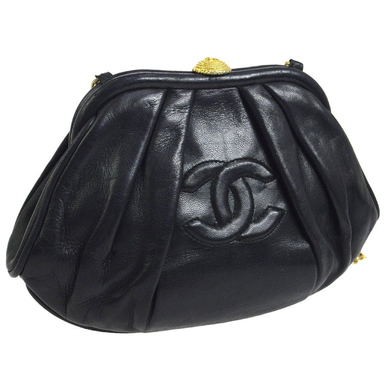 1fedc5aa7b5f Chanel Black Leather Gold Kiss Lock Evening Small Mini Party Shoulder Bag  For Sale