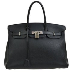 Hermes Birkin 35 Black Leather Palladium Travel Carryall Top Handle Satchel Tote