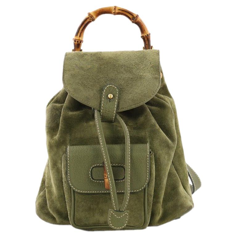 cb05c99ffec8 Gucci Vintage Bamboo Backpack Suede Mini For Sale at 1stdibs