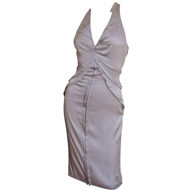 2003 Tom Ford Gucci Goreous Lavender Plunge Silk Dress