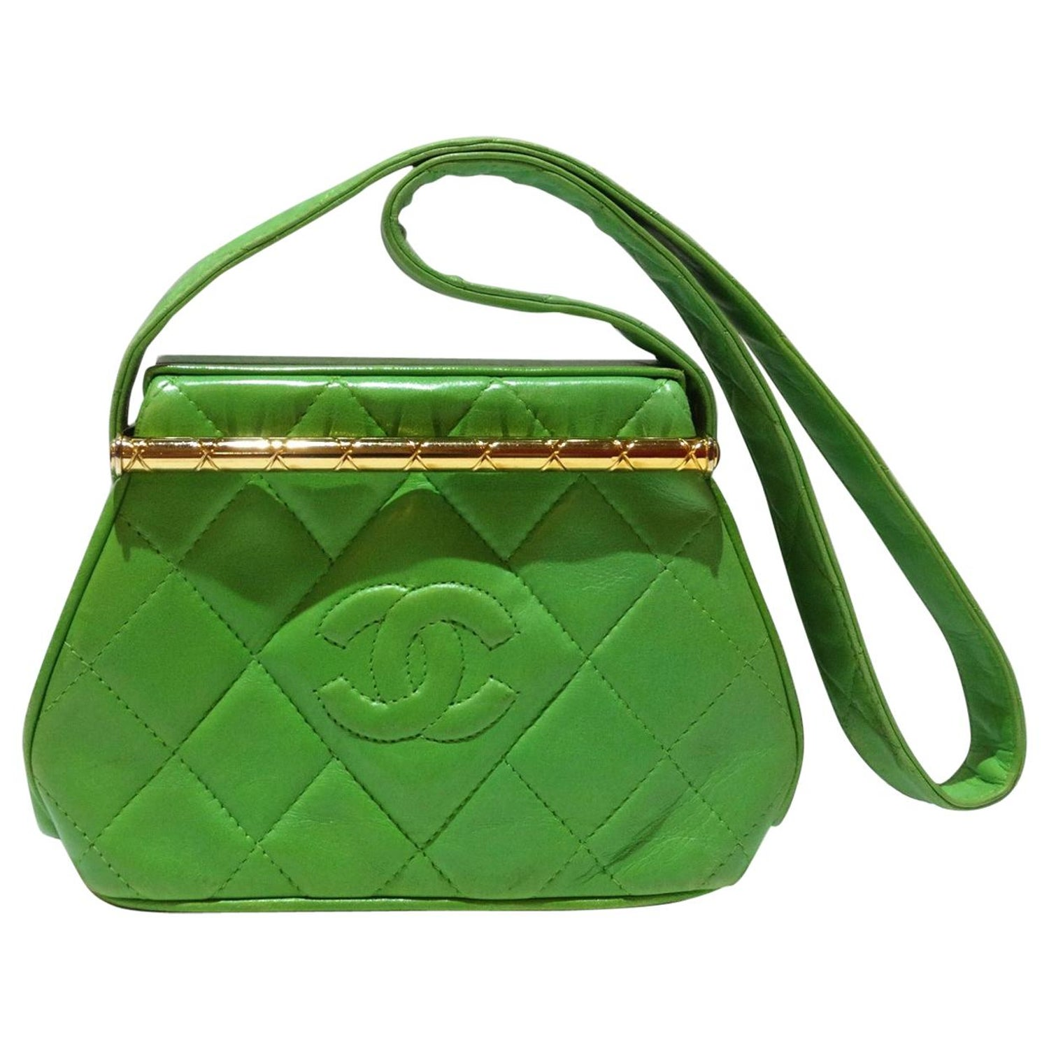 989e21614e14 1989 Chanel Kelly Green Quilted Handbag For Sale at 1stdibs