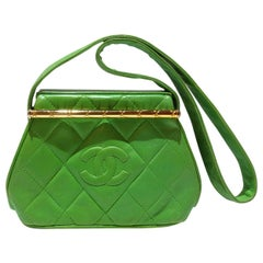 1989 Chanel Kelly Green Quilted Handbag