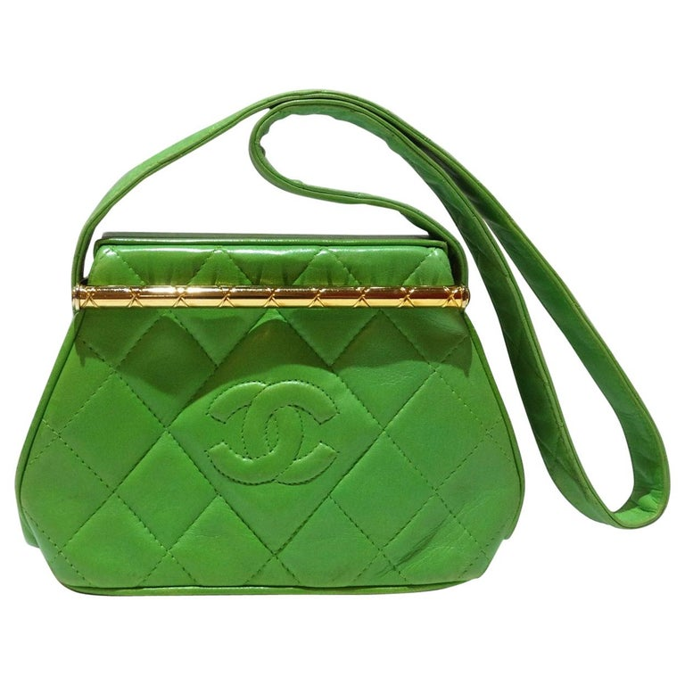 1989 Chanel Kelly Green Quilted Handbag  For Sale