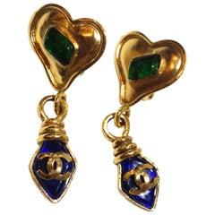 Chanel 1995 Spring Gripoix Heart Drop Earrings