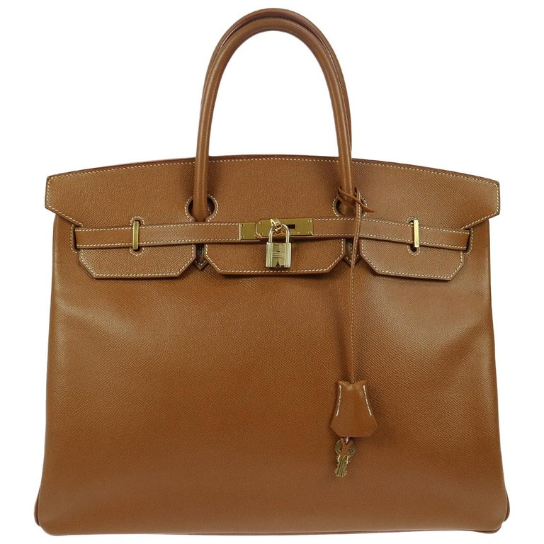 Hermes Birkin 40 Cognac Leather Gold Carryall Top Handle Satchel Tote