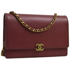 Chanel Burgundy Red Leather Gold Wallet on Chain WOC Evening Shoulder Flap Bag