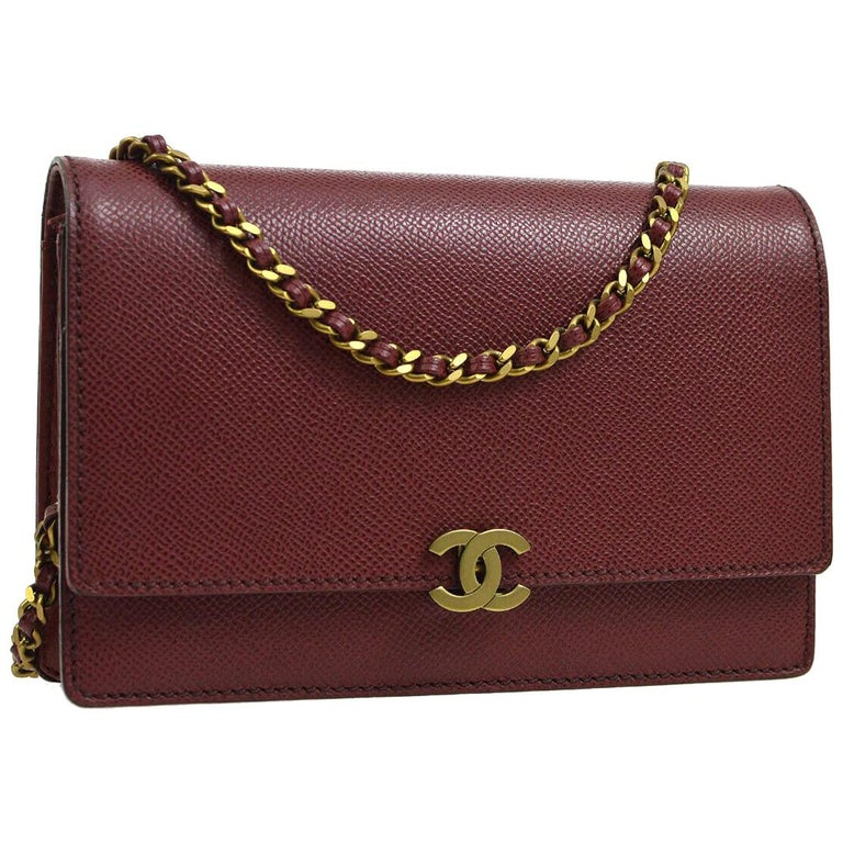 80c652560a2b83 Chanel Burgundy Red Leather Gold Wallet on Chain WOC Evening Shoulder Flap  Bag For Sale