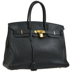 Hermes Birkin 35 Black Leather Gold Travel Carryall Top Handle Satchel Tote