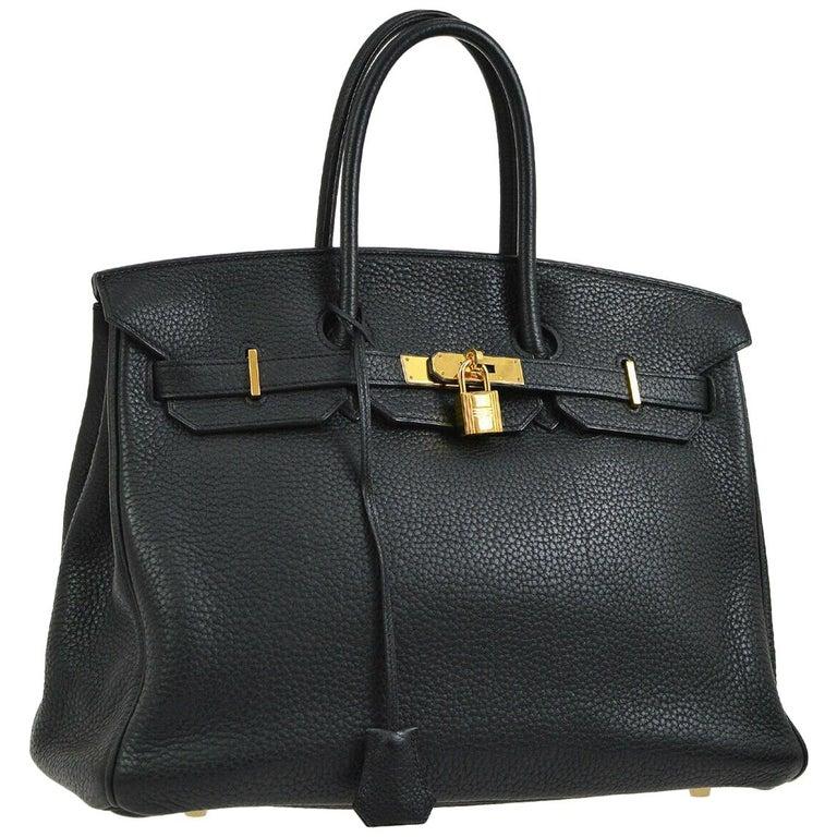 Hermes Birkin 35 Black Leather Gold Travel Carryall Top Handle Satchel Tote For Sale