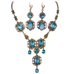 c. 1930 Aqua and Brass Necklace/Earring Set