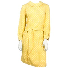 1960s Saks Fifth Ave. Yellow Polka Dot Shift Dress