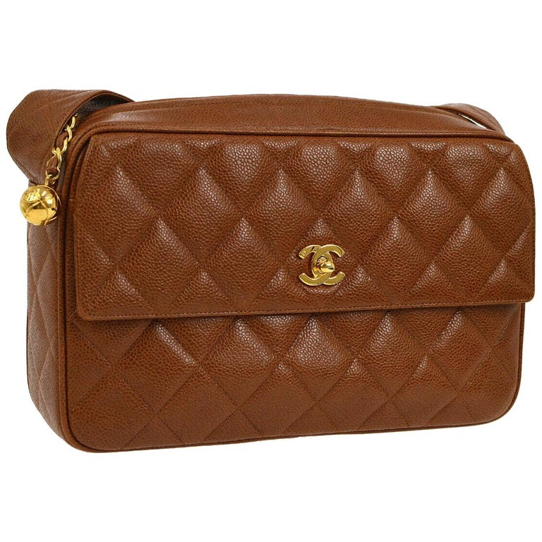 f972905445827c Chanel Cognac Caviar Leather Gold Evening Camera Shoulder Bag in Box For  Sale