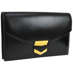 Hermes Black Leather Gold Evening Envelope Clutch Flap Bag