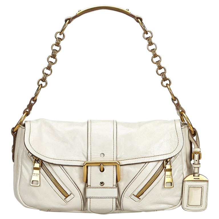 7930004f76cc6d Prada White Leather Baguette For Sale at 1stdibs