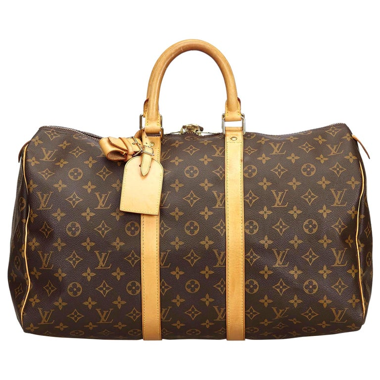 Louis Vuitton Brown Monogram Keepall 45 For Sale