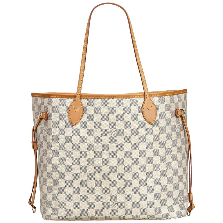 88a6c0e4cc35 Louis Vuitton White Damier Azur Neverfull MM For Sale at 1stdibs