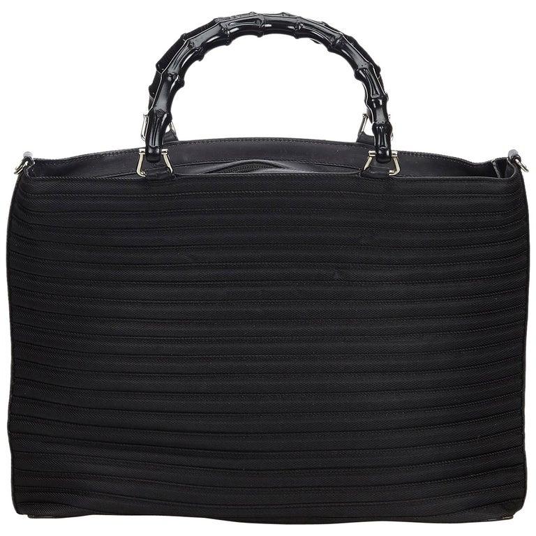 90bf8e4ecfb Gucci Black Nylon Bamboo Handbag For Sale at 1stdibs